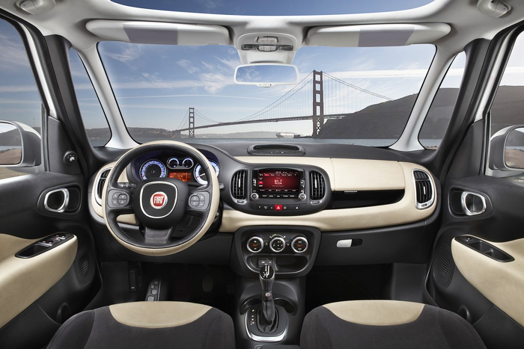 With dual pillars up front and wraparound glass, Fiat aimed to make the 500L's cabin have the open, airy feeling of an urban loft.