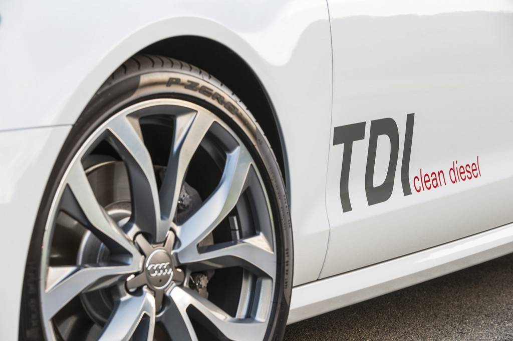 "Audi's test car came with large ""TDI clean diesel"" lettering on the side to show off its unusual and impressive powertrain."