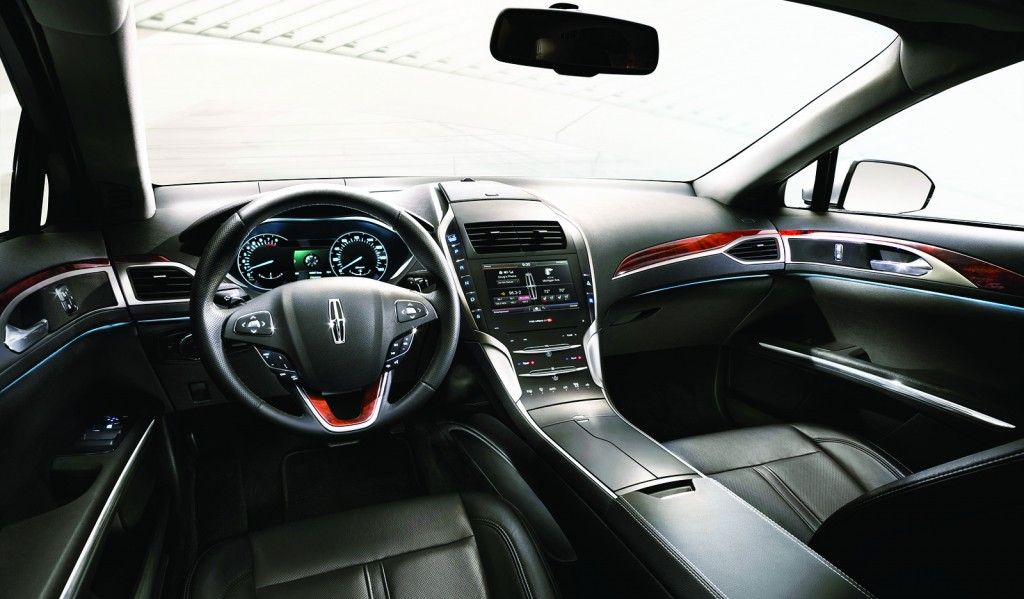 A push-button gear shifter and available panoramic sunroof make the MKZ's cabin stand out. It uses leather and wood to create an air of traditional Lincoln luxury with a more modern design twist.