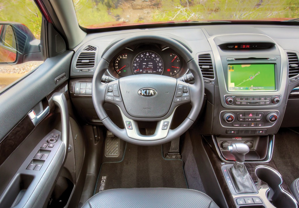 A large touchscreen interface is one of the Sorento's strong points. Kia's UVO digital interface is wonderfully easy to learn.