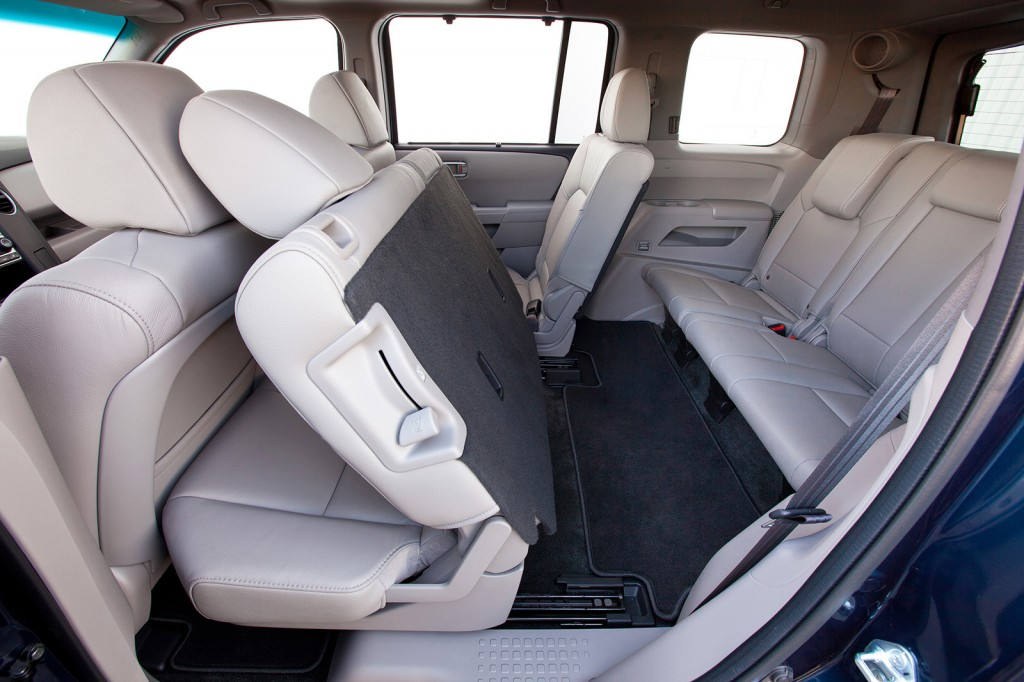 The Pilot's second-row seats slide and tilt to make it simple to access the back row. It offers easy access, similar to a minivan but without the sliding side doors and frumpy styling.
