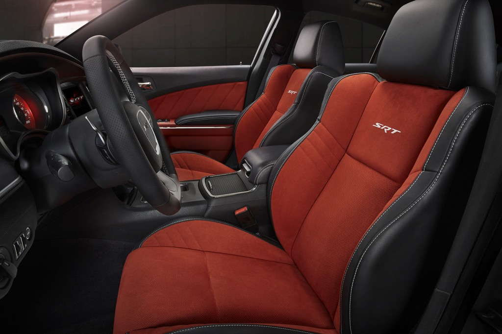 The Charger Hellcat's interior looks as racy as its body, with supportive seats and performance-oriented electronics that let you customize its setup for launch control and track driving.