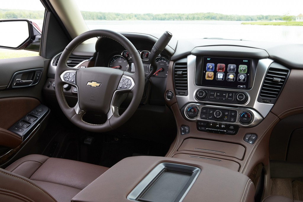 The Suburban's front cabin is dominated by a large digital touchscreen display in the center of the dash. This all-new design looks and feels more like a luxury SUV now.