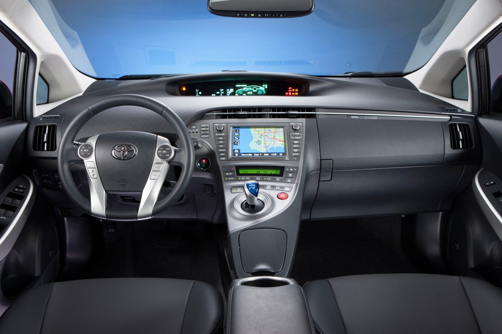 The Prius' interior has a high-tech look with several digital displays, including one in the center of the dash that shows you how the car is routing electrical and engine power as you drive.