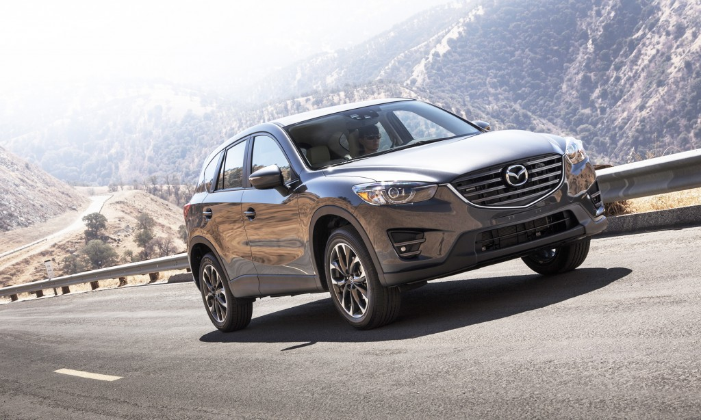 The Mazda CX-5 gets new styling for 2016, including more modern headlights and a bolder, higher grille.