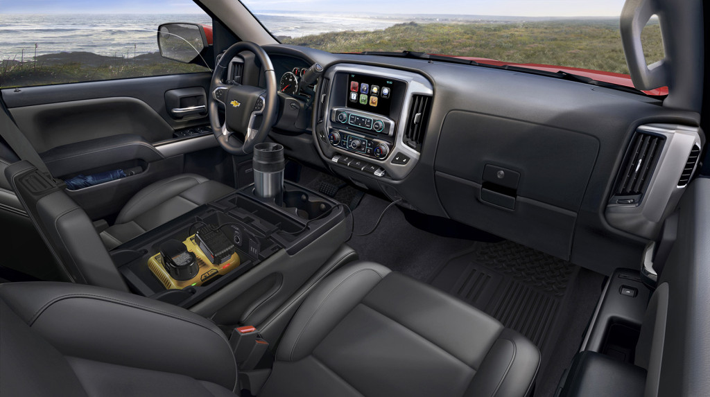 The Silverado's cabin is intelligently designed for work with roomy storage spaces and ample, conveniently located power outlets.