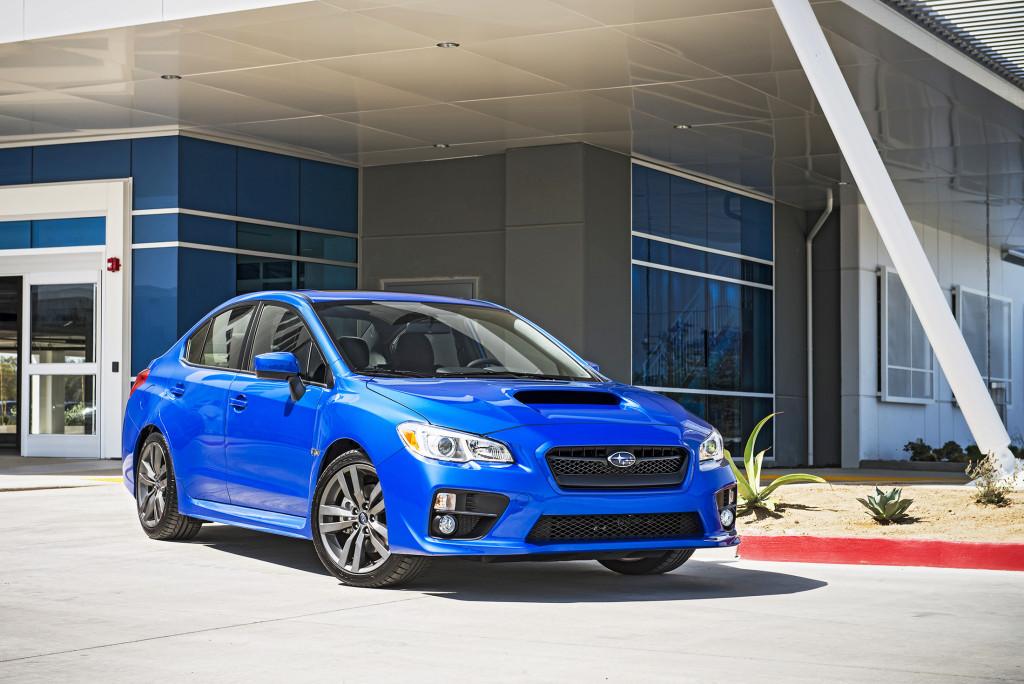 The Subaru WRX's signature hood scoop hints at the turbocharged power lurking underneath.