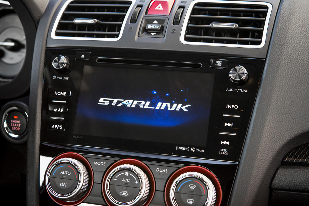 Subaru's Starlink touchscreen interface is available on all trim levels of the WRX for 2016.