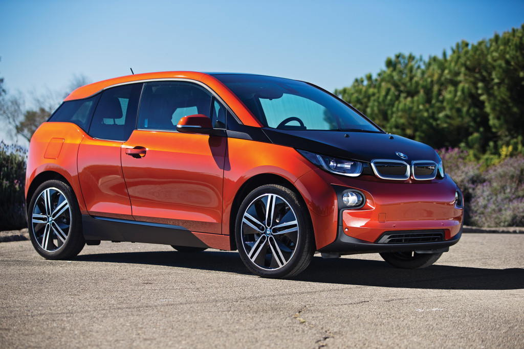 "The BMW i3 is an electric car made from exotic materials such as aluminum, carbon fiber and magnesium. It has a range of 81 miles, or 150 miles with the optional ""range extender"" engine that runs a generator."