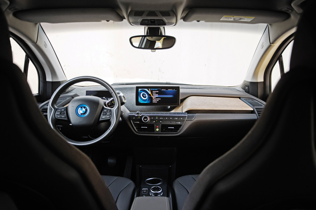 The i3 has a dramatic, futuristic interior that looks like it came straight from a concept car at a major auto show.