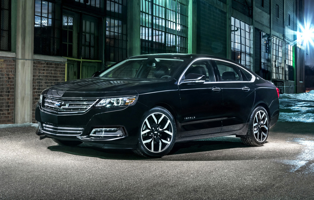 A new Midnight Edition appearance package gives the 2016 Chevrolet Impala a blacked-out look with special touches on the wheels, grille and trunk lid.
