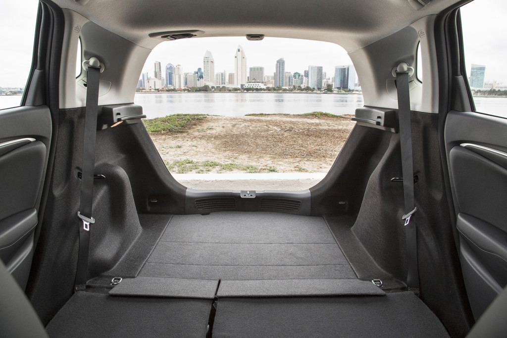 The Honda Fit has a class-leading 52.7 cubic feet of cargo space with the seats folded down, a tremendous amount for a subcompact car.
