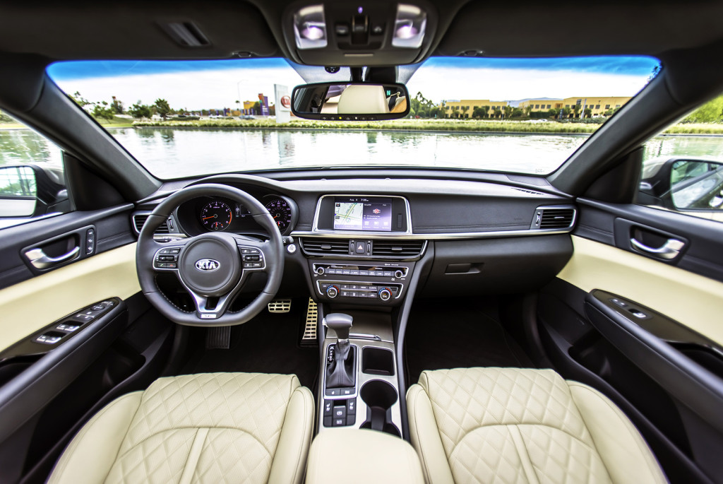 Horizontal lines dominate the dash in the Optima's nicely finished interior. It has the look of a high-style cabin that was influenced by one strong-willed designer rather than a committee or focus group.