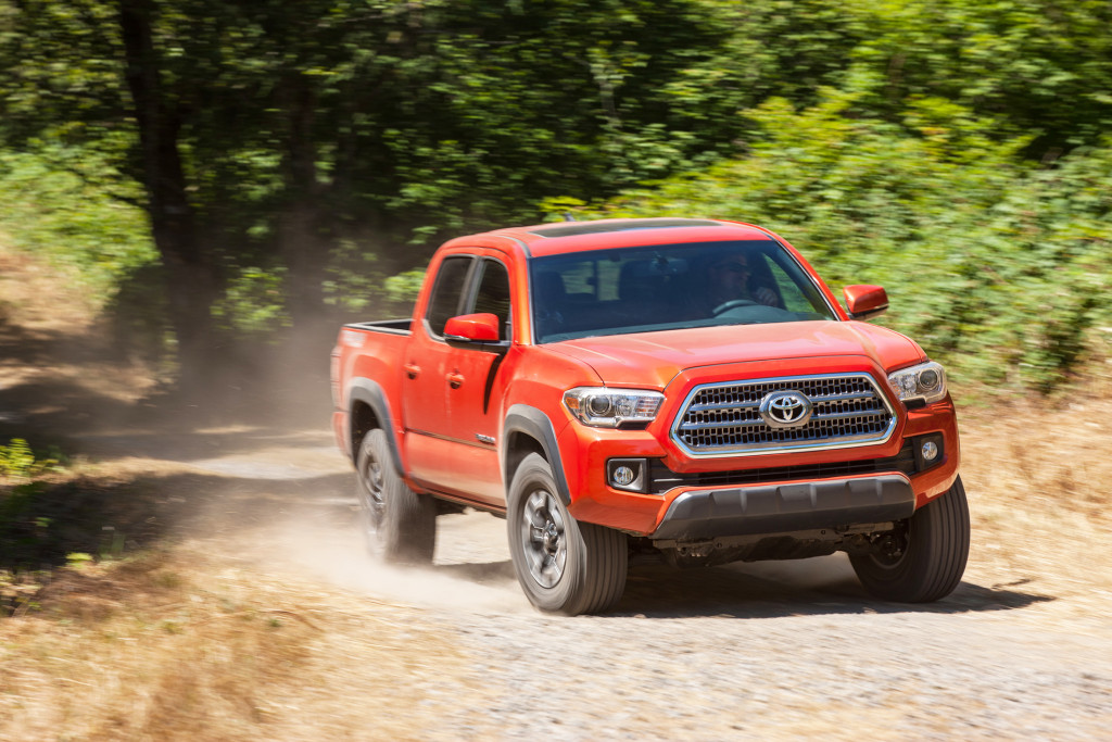 "Toyota isn't shy about its all-new Tacoma pickup. It's available in a brilliant shade of orange called ""Inferno"" that draws lots of eyeballs to its new body styling."