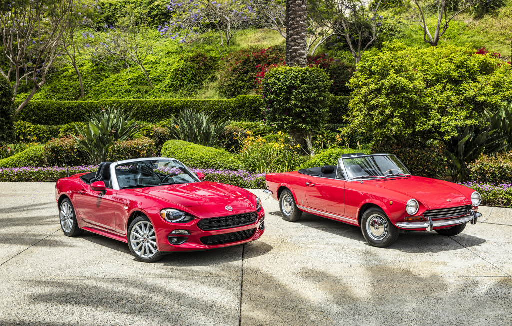 The new Fiat 124 Spider, left, is shown with its namesake from the 1960s. It aims to bring timeless Italian styling and a fun driving experience at a low price, just like the original.