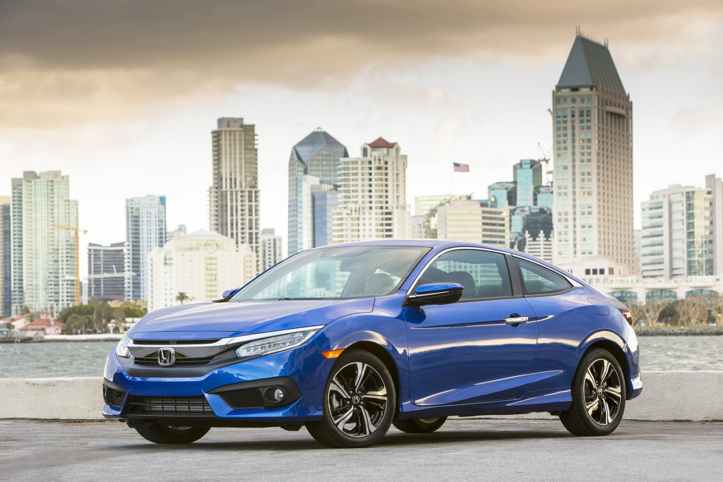 The Honda Civic has an all-new design for 2016 that makes it quieter and more refined without losing its sporty edges. Its new look will turn heads, particularly in the two-door coupe version shown here.
