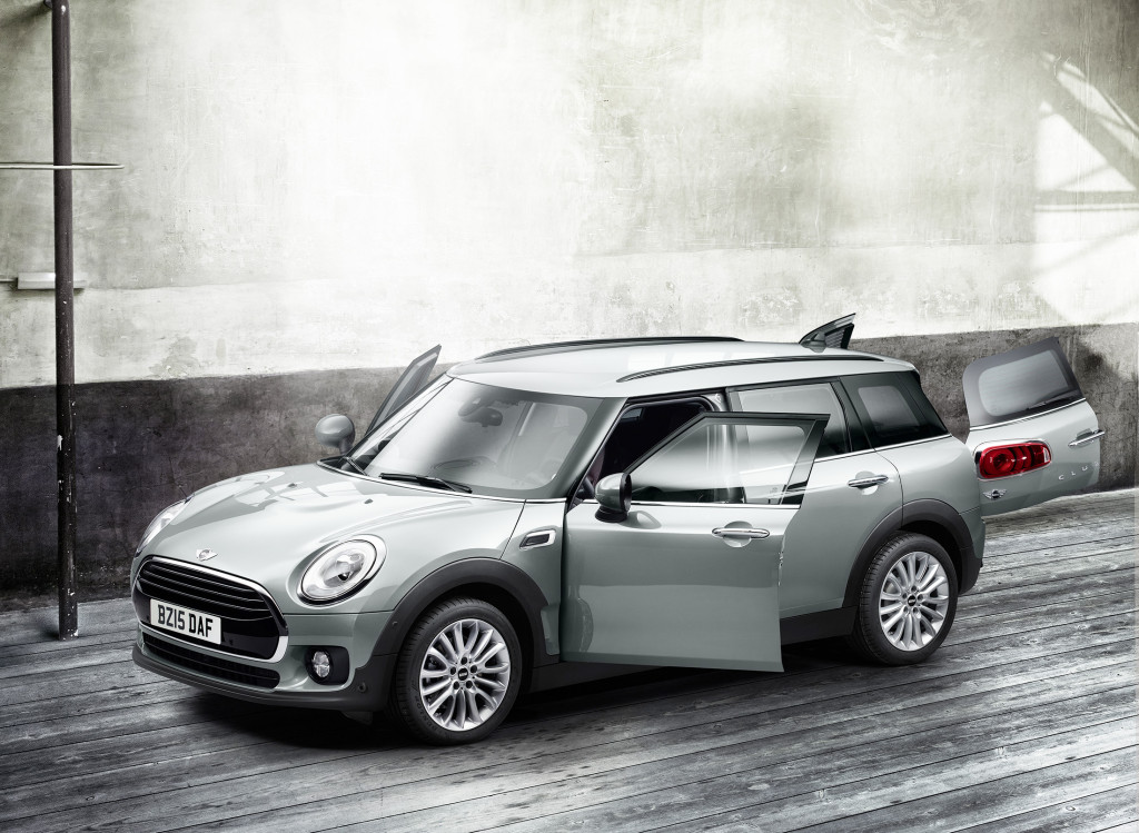 The MINI Clubman, a larger version of the timeless Cooper, has six doors, two of which offer a split-opening cargo area in back.