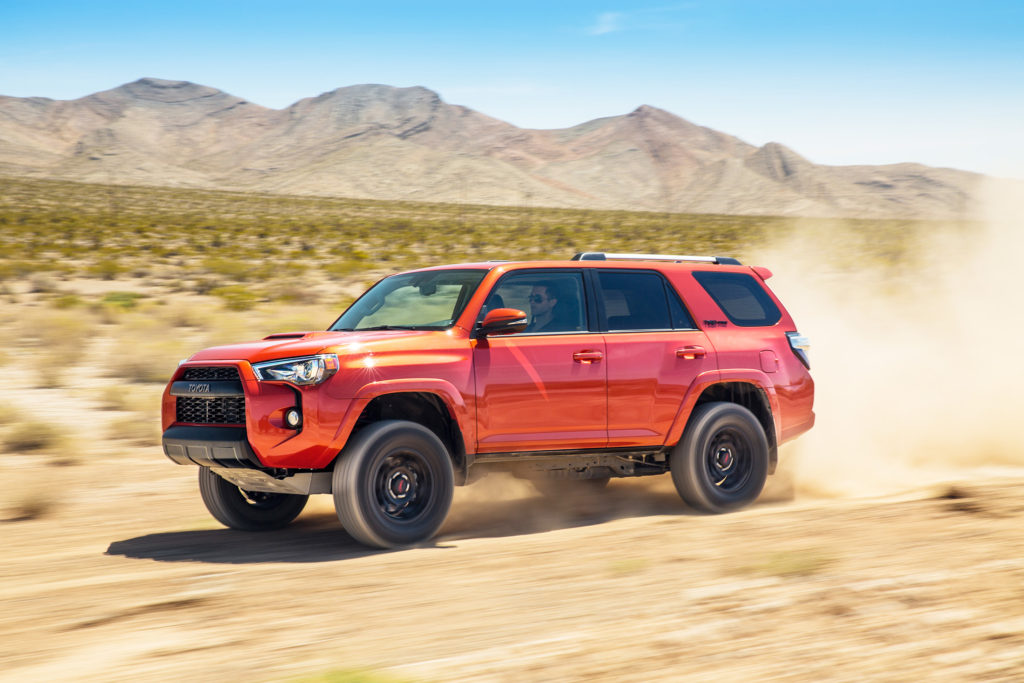 Toyota's 4Runner is a traditional SUV designed for off-road capability. The TRD Pro version, shown here, is customized at the factory for heavy use on the trails.