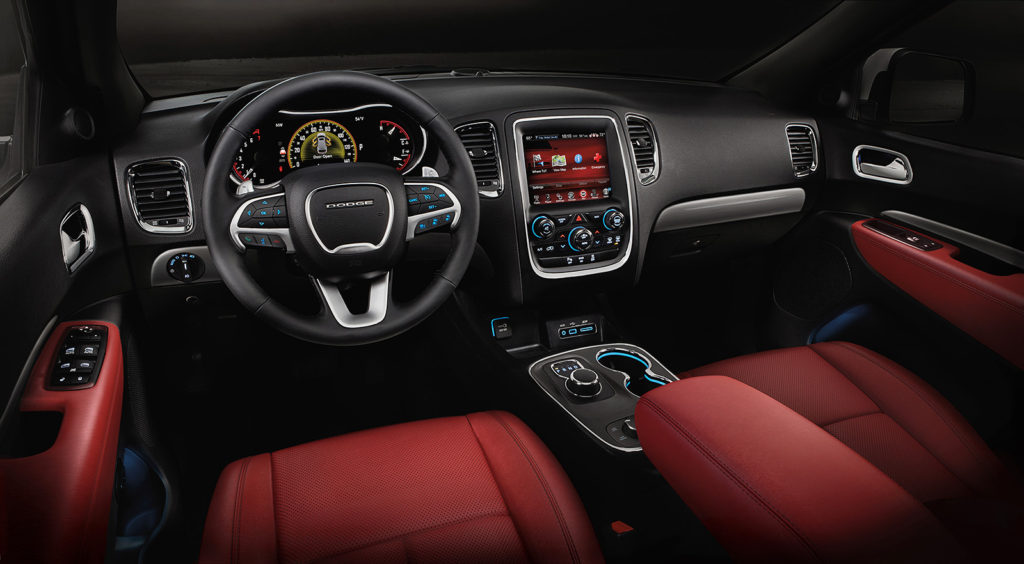 An optional red leather interior gives the Durango an outgoing, sports-car-inspired look for its cabin.