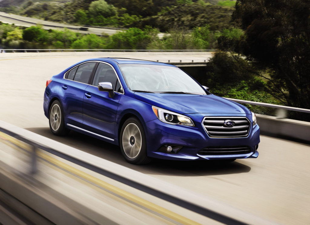 The Subaru Legacy adds a 2.5i Sport trim level for 2017 that includes special 18-inch wheels, dark gray accents and silver mirror housings.