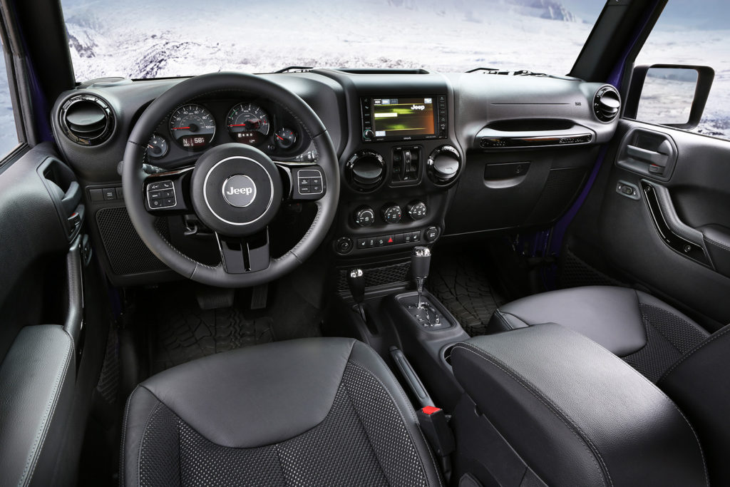A 6.5-inch screen can bring a touch of civilization to the back country in the Jeep Wrangler. It's available with a GPS navigation system and hard drive for music storage.