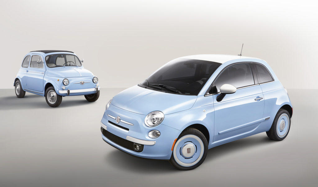 The Fiat 500 1957 Edition, shown in the foreground, draws saying cues from its iconic Italian ancestors.