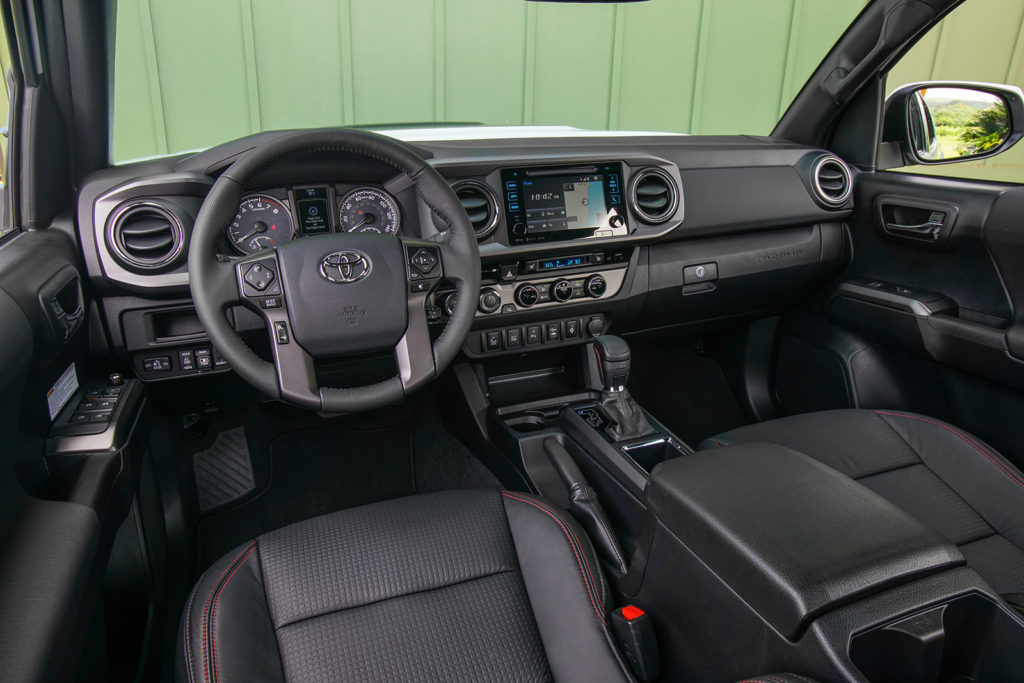 Black leather seats, a special shift knob and unique floor mats are all touches that help the TRD Pro stand out on the inside, too.