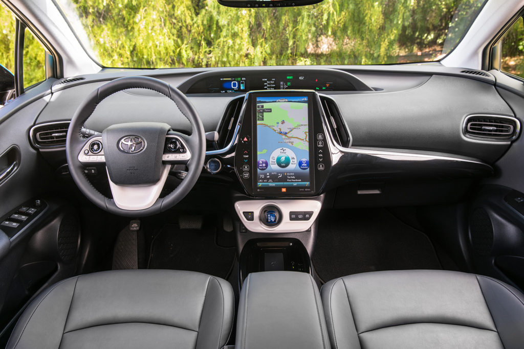 The Prius Prime's cabin is equally forward-looking, dominated by digital screens for information and entertainment.